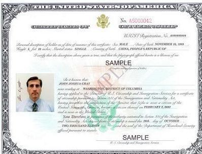 U.S. Certificate of Citizenship