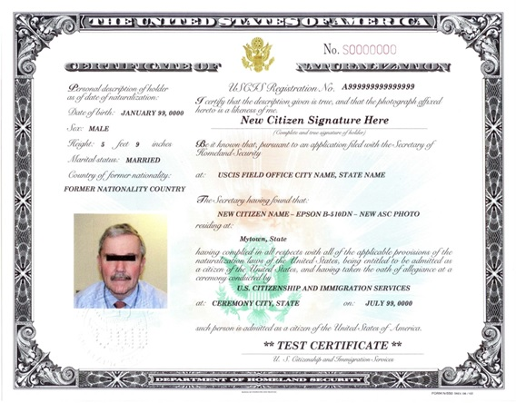 United States Naturalization Certificate